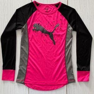 Girl's Puma Sports Shirt Pink Black Size 12-14